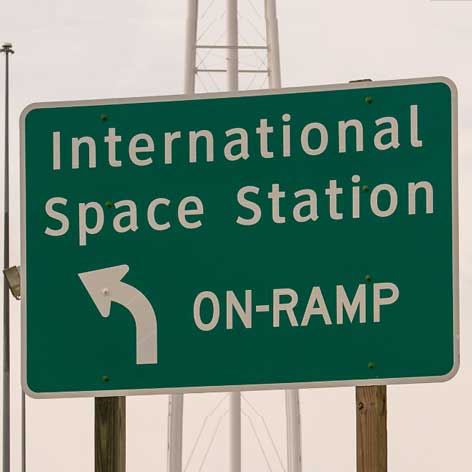 Road sign for international space station