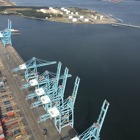 sky view of the port